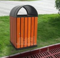 校园钢木垃圾桶