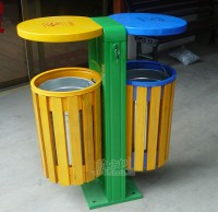 物业分类钢木垃圾桶