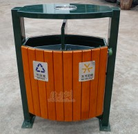 摇摆式钢木垃圾桶