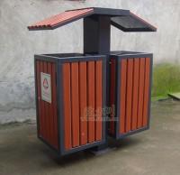 古典钢木垃圾桶