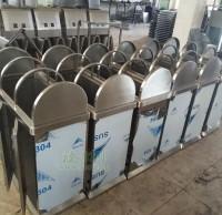 不锈钢摇盖三分类垃圾桶生产图