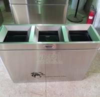 不锈钢三分类垃圾桶远销新加坡国际学校