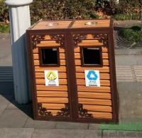 景区古典钢木分类垃圾桶