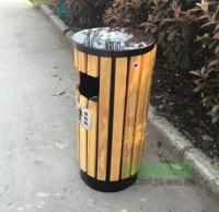 社区环保圆柱钢木垃圾桶