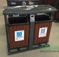 户外经典热销钢木分类垃圾桶
