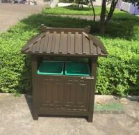 户外景区古典钢制分类垃圾桶