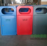 户外商业街钢制分类垃圾桶