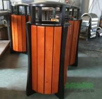 圆形单桶钢木果皮箱