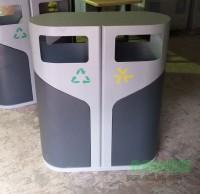户外现代时尚钢制分类垃圾桶