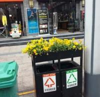 环卫分类垃圾桶上栽花,成为城市风景线