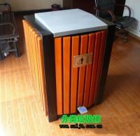 室内环保脚踏式钢木垃圾桶
