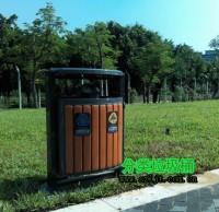 公园景区钢木分类垃圾桶