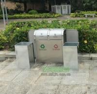 户外推盖不锈钢园林垃圾桶