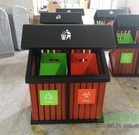 玻璃钢内桶钢木分类垃圾桶