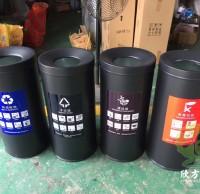 喷塑圆柱形立式不锈钢分类垃圾桶