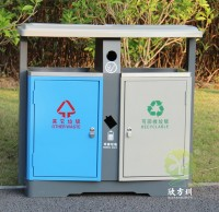 室外街道两分类钢板垃圾箱