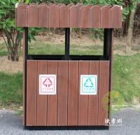 户外防腐木带花箱分类垃圾桶