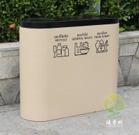 出口转木纹镀锌板三分类垃圾桶
