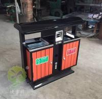 户外镀锌内胆钢木分类垃圾桶
