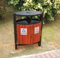 户外立式钢木分类垃圾桶