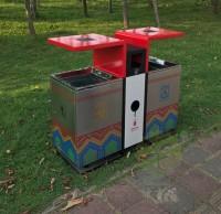 户外加厚不锈钢环保分类垃圾箱
