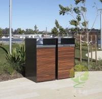 户外高品质防腐木钢木垃圾桶