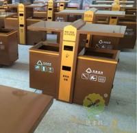 钢板仿木公园垃圾桶