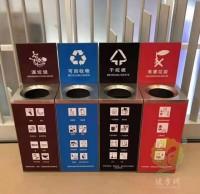 商场小号立式直投口不锈钢分类垃圾桶