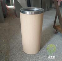 立式仿木纹圆柱形不锈钢垃圾桶