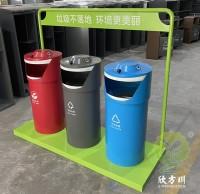 户外圆柱形三分类钢板垃圾桶