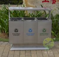 出口户外方形不锈钢分类垃圾箱