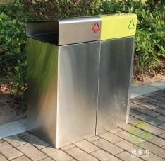 户外不锈钢双分类垃圾回收箱