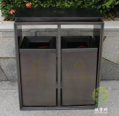 电镀黑钛不锈钢分类果皮箱