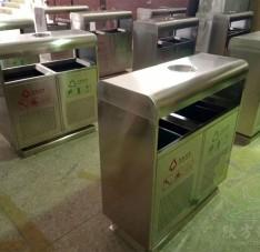 户外方形不锈钢环保分类垃圾桶
