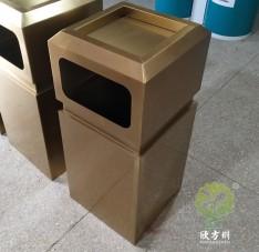户外电镀古铜色方形不锈钢垃圾桶