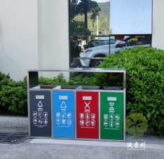 户外广场四分类不锈钢垃圾箱