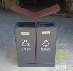 户外灰色喷塑不锈钢分类垃圾桶