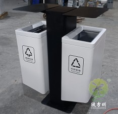 市政道路烤漆不锈钢分类垃圾桶