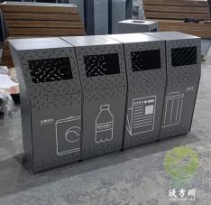 户外镂空组合不锈钢分类垃圾桶