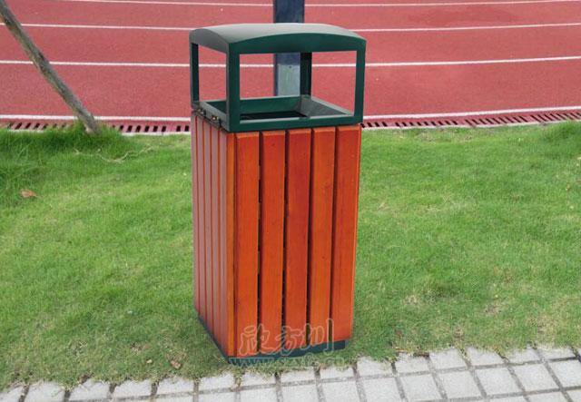 单桶钢木垃圾桶