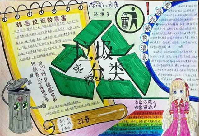 垃圾分类手抄报版面设计图 垃圾分类环保小报手抄报模板 垃圾分类
