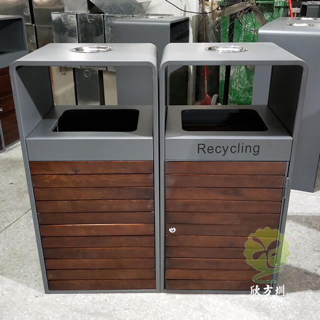 户外组合式分类钢木垃圾箱